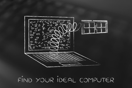 solid state drive: configuring the perfect computer for your needs: laptops RAM popping out on a spring Stock Photo