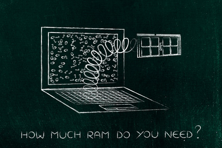 custom cabinet: configuring the perfect computer for your needs: laptops RAM popping out on a spring Stock Photo