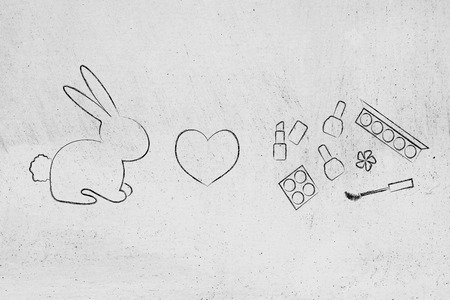 cruelty-free cosmetics produced without animal testing: bunny with heart icon and mixed make-up items Stock Photo