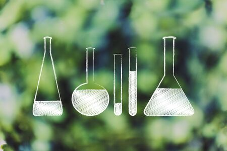 science and chemistry concept: set of lab phials with liquids to experiment with Stock Photo