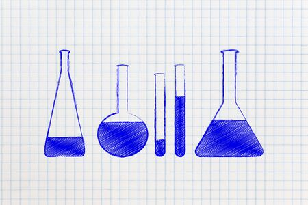 scientifical: science and chemistry concept: set of lab phials with liquids to experiment with Stock Photo