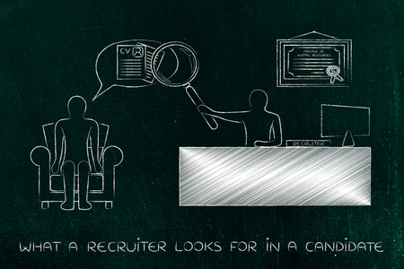 interview for a job: recruite with big magnifying glass analyzing candidates interview replies attentively Stock Photo