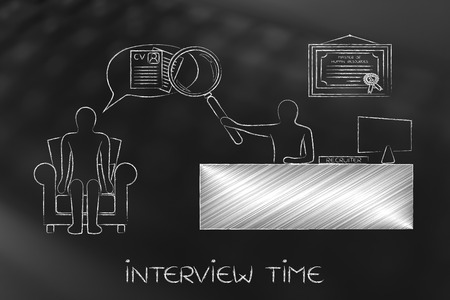 replies: interview for a job: recruite with big magnifying glass analyzing candidates interview replies attentively Stock Photo