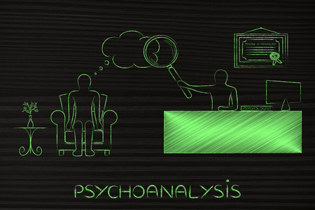 psychoanalysis: psychological couseling & therapy: psychologist analyzing patients thoughts with magnifying glass