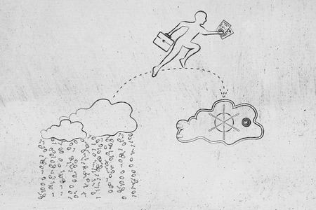 protecting your business: concept of protecting your files on cloud computing services: business man jumpying to take his document out of a cloud with binary rain lean and into a safebox cloud
