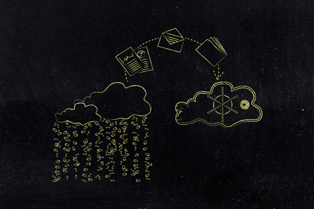 concept of protecting your files on cloud computing services: documents jumpying out of a cloud with binary rain lean and into a safebox cloud Reklamní fotografie