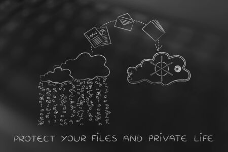 concept of protecting your files on cloud computing services: documents jumpying out of a cloud with binary rain lean and into a safebox cloud