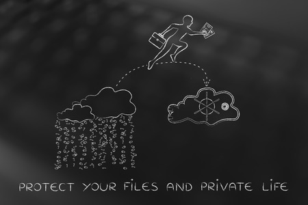 concept of protecting your files on cloud computing services: business man jumpying to take his document out of a cloud with binary rain lean and into a safebox cloud