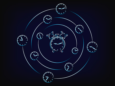 alarm clock surrounded by spinning clocks, concept of time passing by fast (vector) Illustration