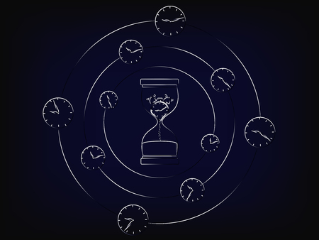 hourglass with melting alarm surrounded by spinning clocks, concept of time passing by fast (vector)