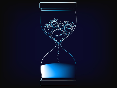 vector hourglass with alarm clock melting to sand, concept of time management and living life to the fullest (mesh background) Illustration