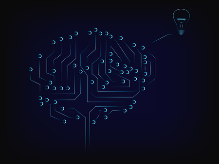 vector of electronic circuit brain elaborating an idea (lightbulb), with mesh background Illustration