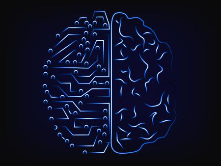 Ordinateur vs esprit: intelligence artificielle et conception de comparaison de cerveau humain, avec fond de maille Banque d'images - 73149201
