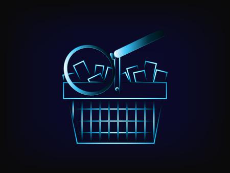 vecteur de loupe sur le panier du client plein de produits, avec fond de maille, concept d'étude de marché