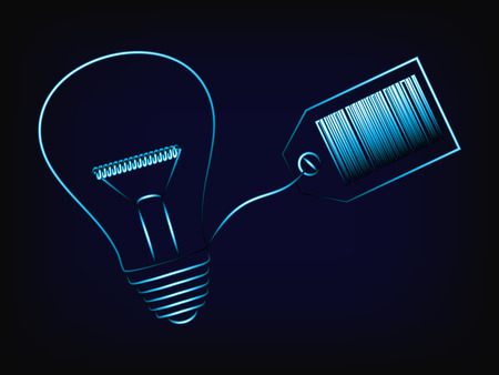turn your ideas into business: vector of lightbulb with price tag and bar code, mesh background Illustration
