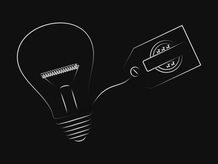 vector of idea lightbulb with copyspace tag with 5 star badge Illustration