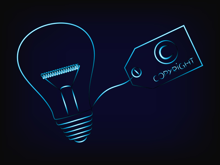 vector of idea lightbulb with copyright tag, concept of intellectual property and inventiveness, with mesh background