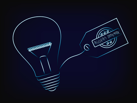 vector of idea lightbulb with trademark tag, concept of intellectual property and inventiveness, with mesh background
