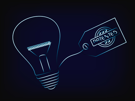 vector of idea lightbulb with patent tag, concept of intellectual property and inventiveness, with mesh background