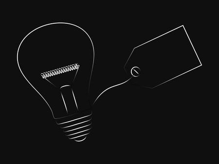 vector of idea lightbulb with empty tag with copyspace to add text