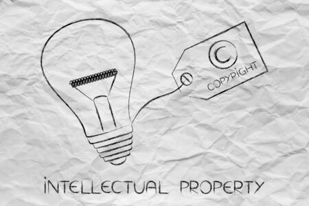 inventiveness: idea lightbulb with copyright tag, concept of intellectual property and inventiveness
