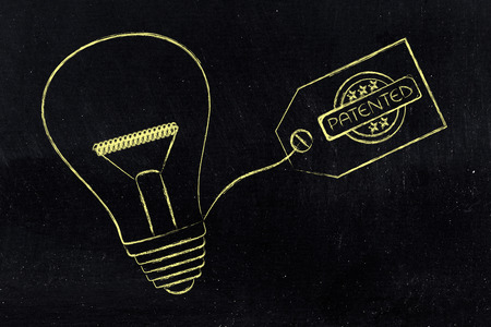 idea lightbulb with patented tag, concept of intellectual property and inventiveness Stock Photo