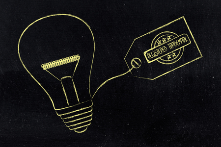 inventiveness: idea lightbulb with trademark tag, concept of intellectual property and inventiveness