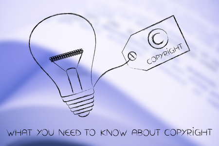 idea lightbulb with copyright tag, concept of intellectual property and inventiveness