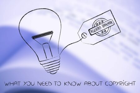 idea lightbulb with trademark tag, concept of intellectual property and inventiveness