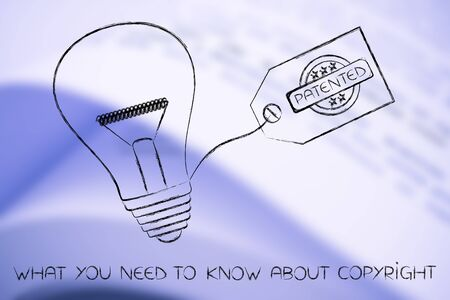 inventiveness: idea lightbulb with patented tag, concept of intellectual property and inventiveness Stock Photo