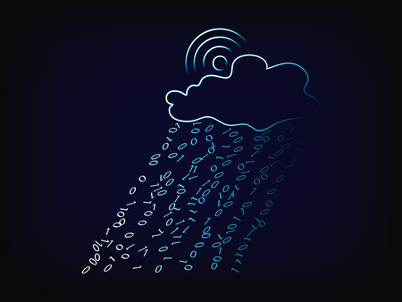 vector cloud with binary code rain, concept of cloud computing data transfers, with mesh background and gradient