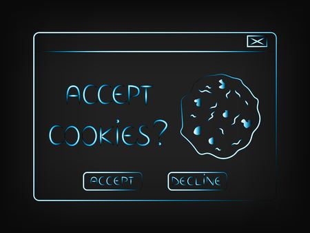 vector pop-up with message Accept cookies and option to decline(mesh background) Illustration