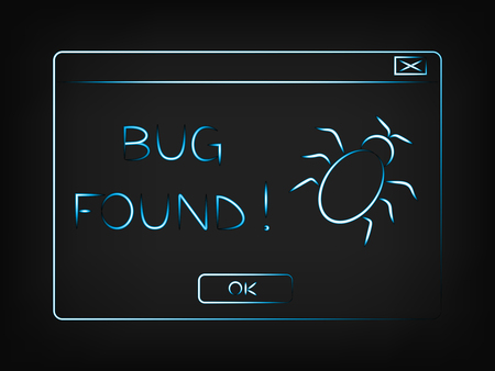 fatal error: funny vector pop-up message about a bug found, with mesh background Illustration