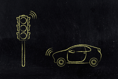 concept car: car and street light with smart technology, concept of connected cities and internet of things Stock Photo
