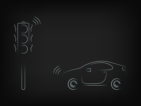 car and street light with smart technology, concept of connected cities and internet of things Illustration