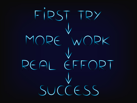 elements to success with arrows, from first try to real effort (vector with glowing effect on mesh background)