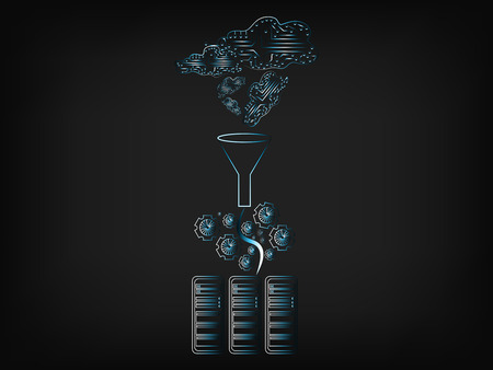 circuit clouds with data going into servers though a funnel and gearwheels, concept of big data processing and storage (vector illustration on mesh background)