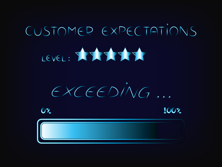 작업으로 고객 기대치 초과, 진행률 표시 줄이있는 기술 시스템 스타일의 벡터
