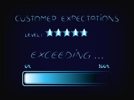 het overtreffen van verwachtingen van klanten als taak, vector in technologische systeemstijl met voortgangsbalk laden