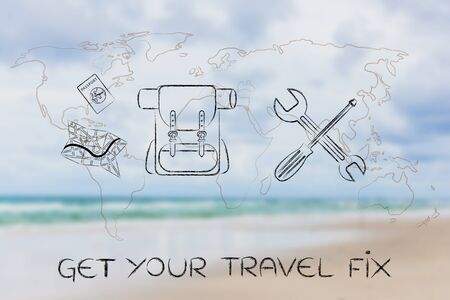 wold map: get your travel fix: backpack map and passport next to wrench and screwdriver over blurred beach image with world map overlay