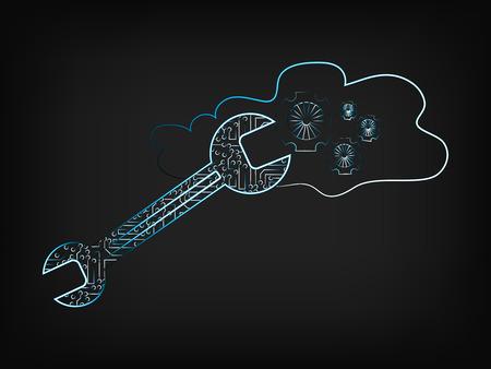classified: vector circuit wrench fixing cloud computing settings (gearwheels) on mesh background, noen effect