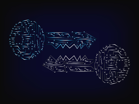 matching cyber keys vector, made of microchip style electronical circuits with light streak effect (mesh background) Vektorové ilustrace