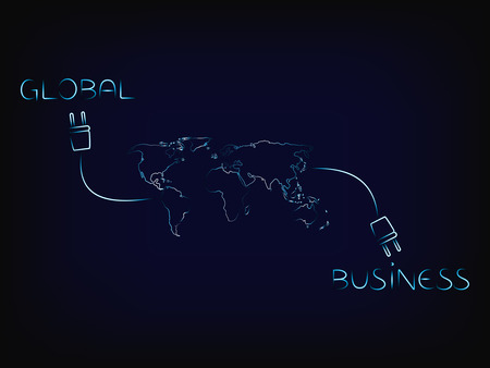 Global and business words connected to each other through a worldwide network, vector on mesh background