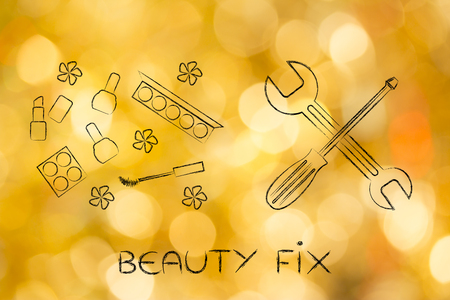 get your beauty fix: cosmetics products next to wrench and screwdriver