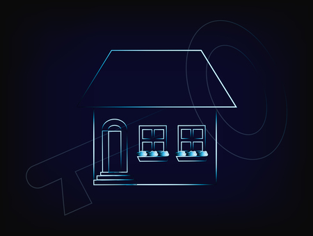 renting: house with key overlay, concept of renting or buying a new house (vector with neon effect on mesh background)
