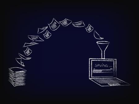 光学式文字認識ソフトウェア、メッシュ バック グラウンドのデジタル データ (進行状況バーとラップトップ) ベクトル図になっている紙書類の山の  イラスト・ベクター素材