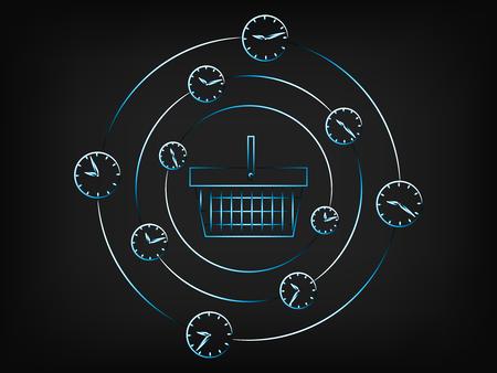 ショッピング バスケットに囲まれて回転時計とアラーム、期間限定キャンペーン (メッシュの背景にベクトル画像) の概念