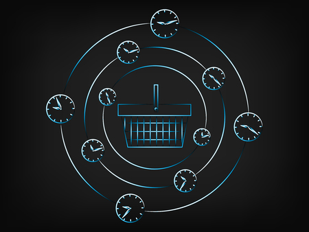 shopping basket surrounded by spinning clocks and alarms, concept of limited time promotions (vector illustration on mesh background)