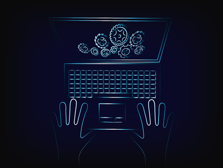 preference: laptop with complex gearwheel mechanism on the screen, concept of customizing settings or data processing (vector illustration with neon effect on mesh background)