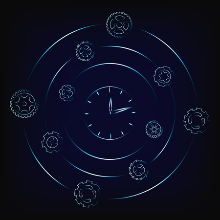 clock surrounded by spinning gearwheels and cogwheels, concept of scheduling and time management (vector illustration with neon effect on mesh background) Illustration